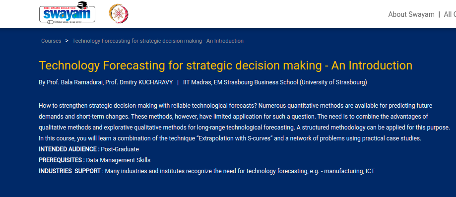 Technology Forecasting for Strategic Decision Making - MOOC on NPTEL