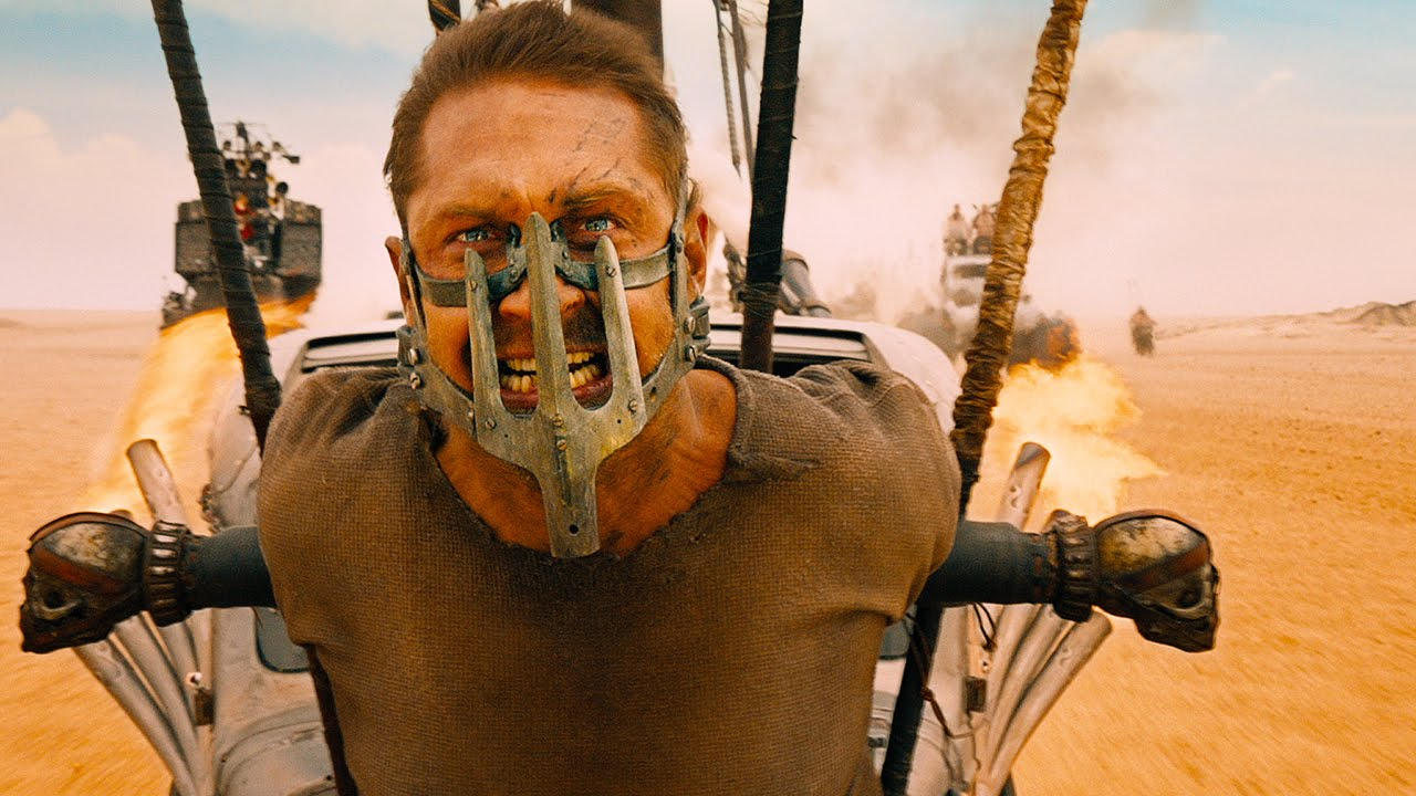 Figure 1: Scene from Mad Max:Fury Road where Tom Hardy plays Max. This is how I felt with a mask on and facing the post-apocalyptic world.